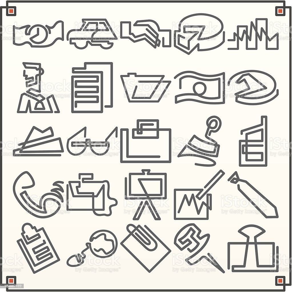 Continuous Line Icons: Business I (Vector) vector art illustration