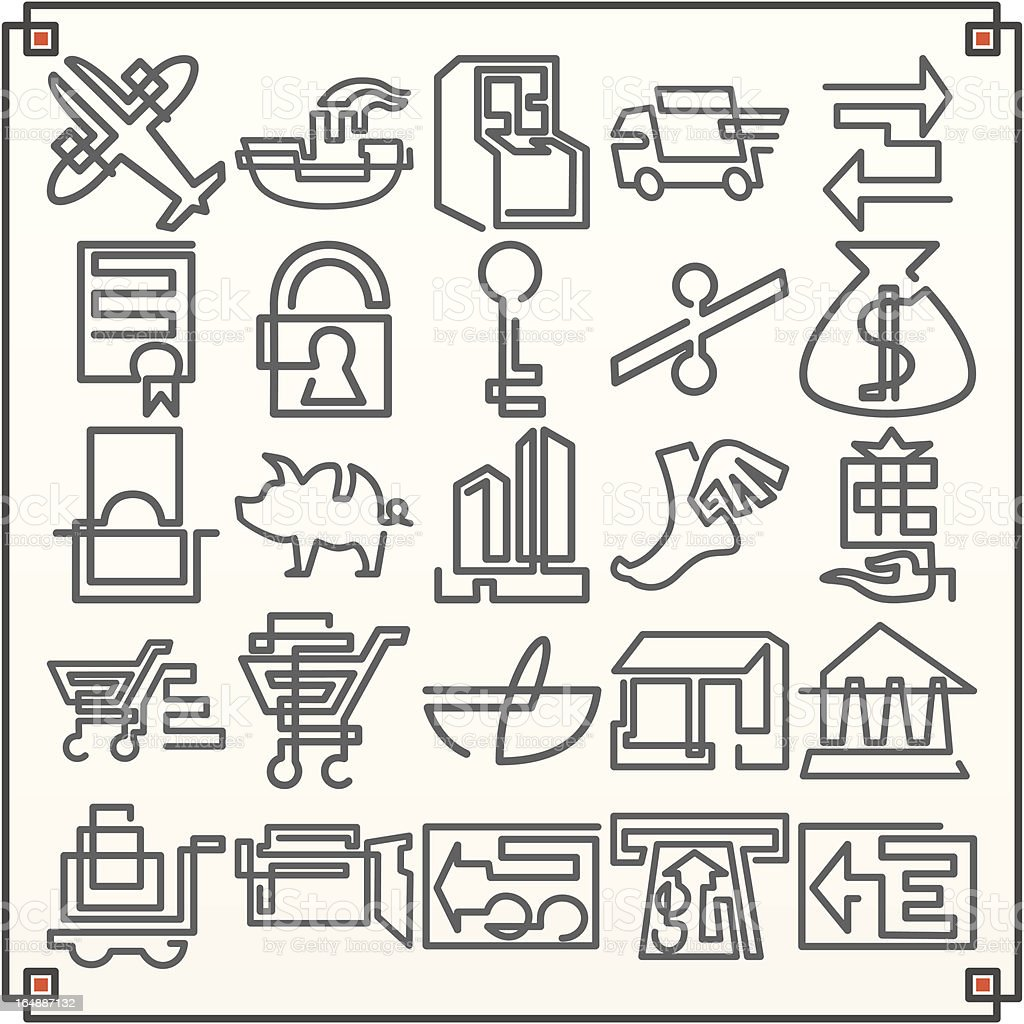 Continuous Line Icons: Commerce I (Vector) royalty-free stock vector art