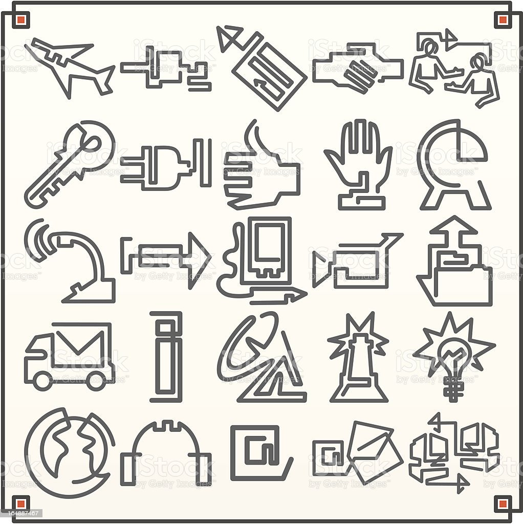 Continuous Line Icons: Communications II (Vector) vector art illustration