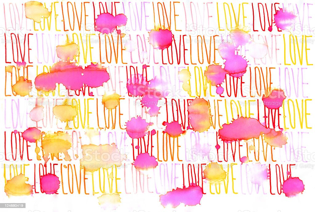 Continuous Word Love Under Rain royalty-free stock vector art