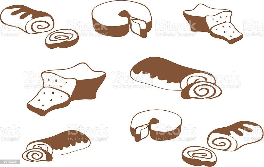 Contour cakes vector art illustration