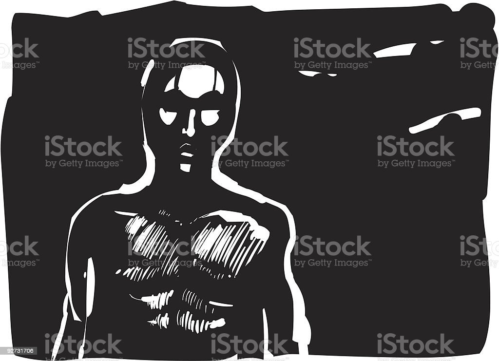contour of man in shadow royalty-free stock vector art