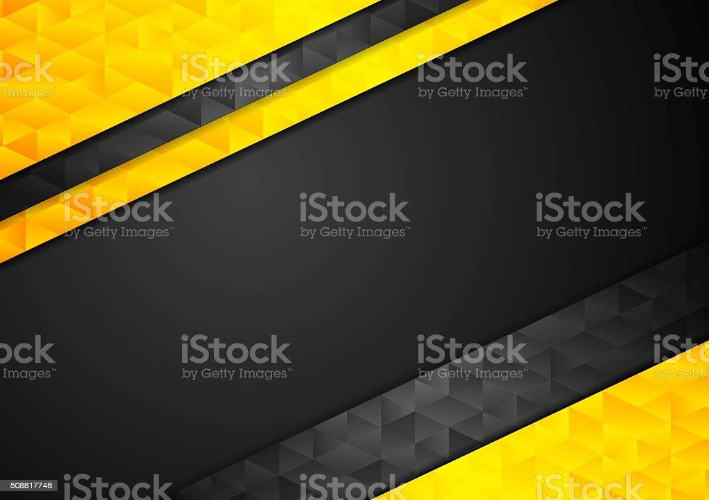 Contrast orange black corporate polygonal background vector art illustration