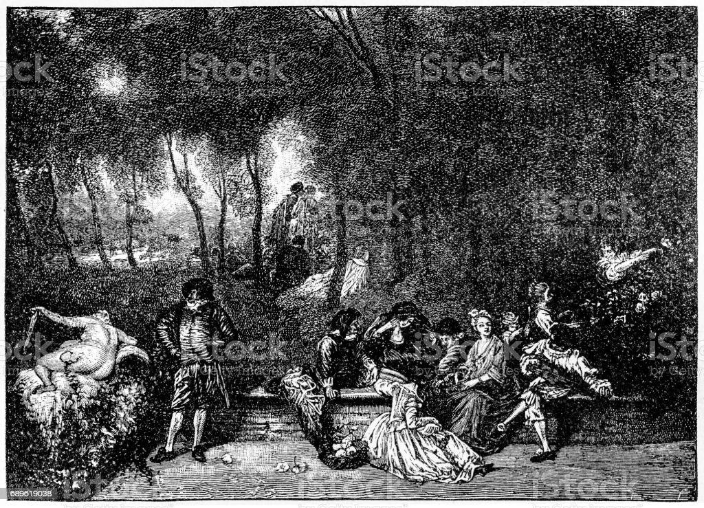 Conversation in the Open Air by Jean-Antoine Watteau (1684-1721) vector art illustration