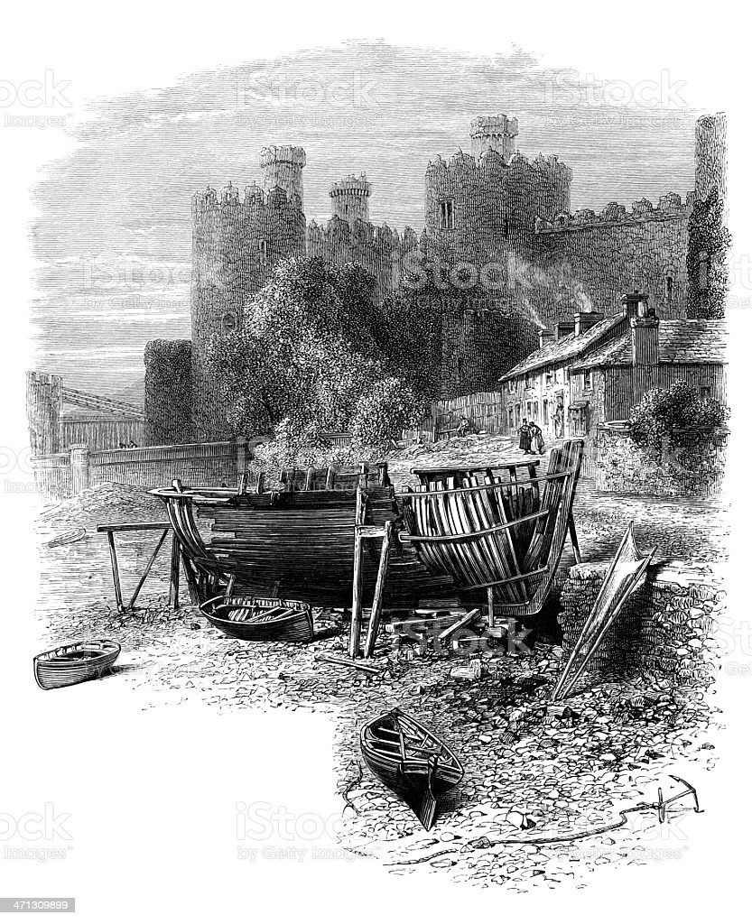 Conway (Conwy) Castle, North Wales royalty-free stock vector art