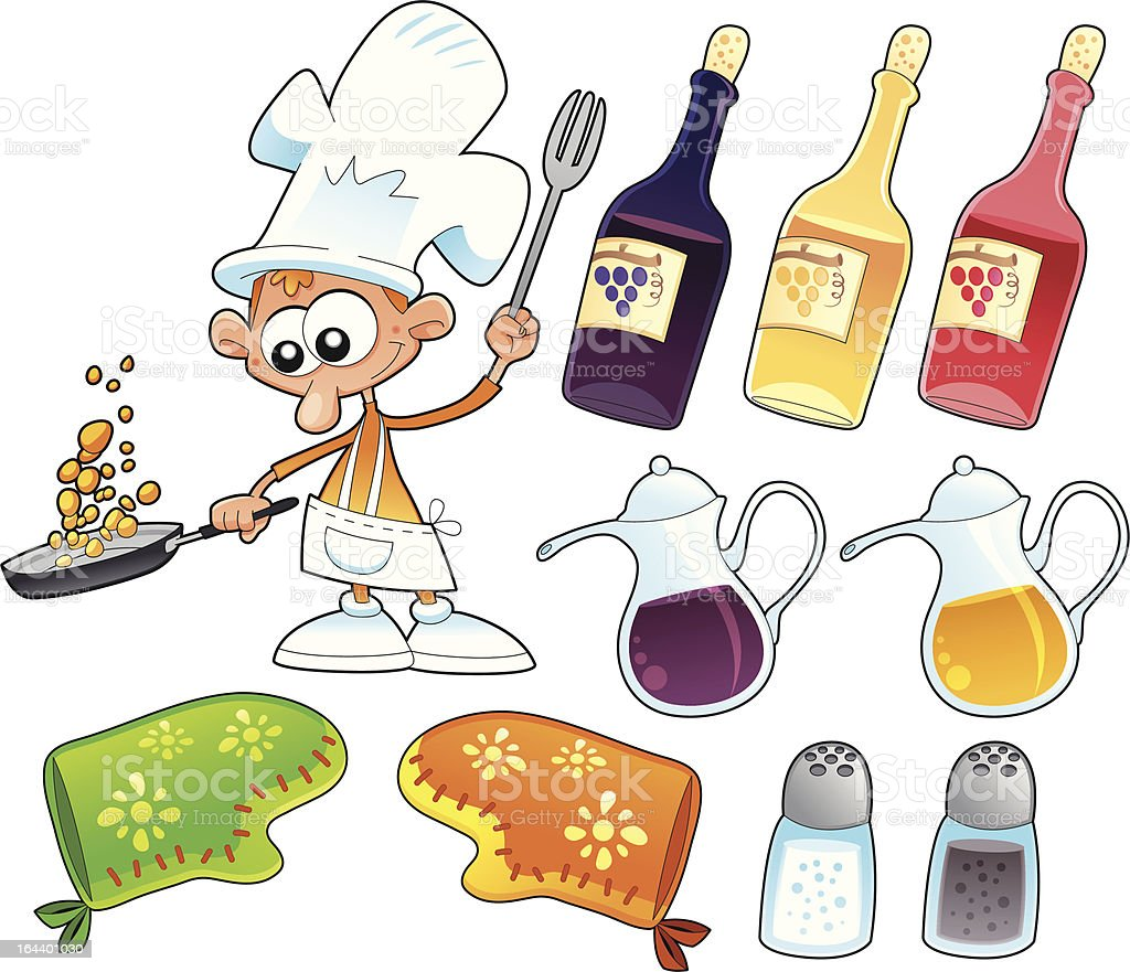 Cook and kitchen objects. vector art illustration