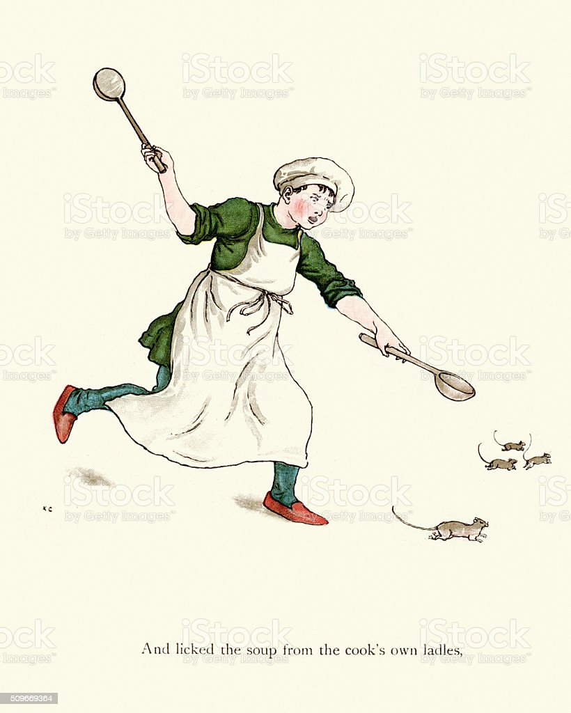 Cook chasing the rats vector art illustration