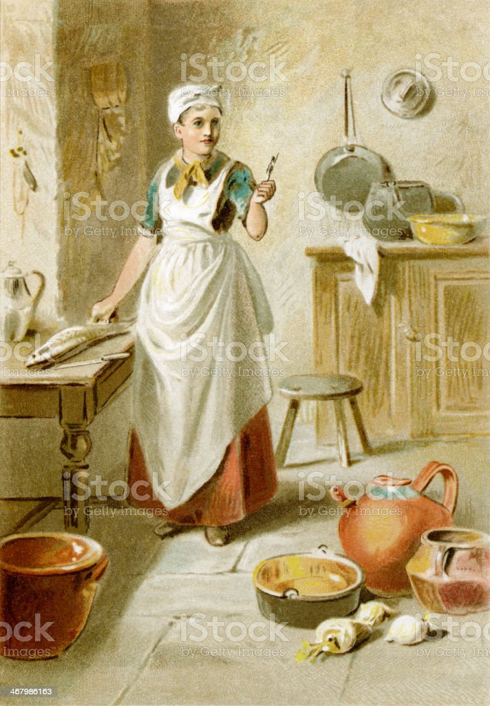 Cook in a Victorian kitchen vector art illustration