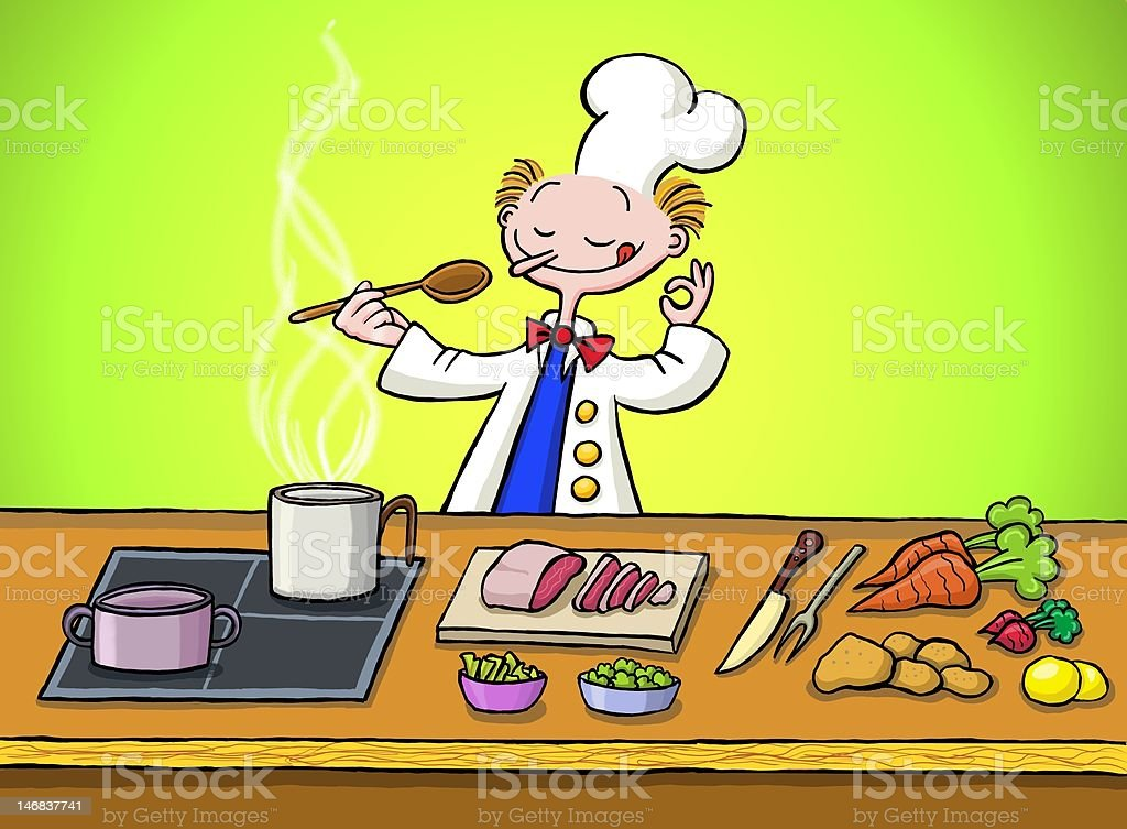 Cook in the kitchen royalty-free stock vector art