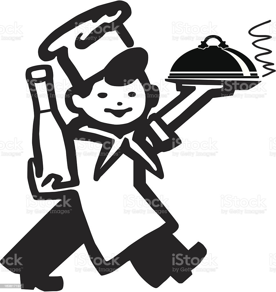 Cook with Main Course vector art illustration