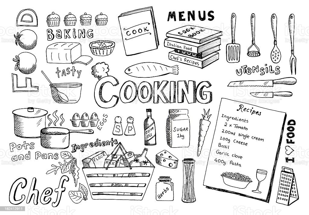 Cooking doodles vector art illustration