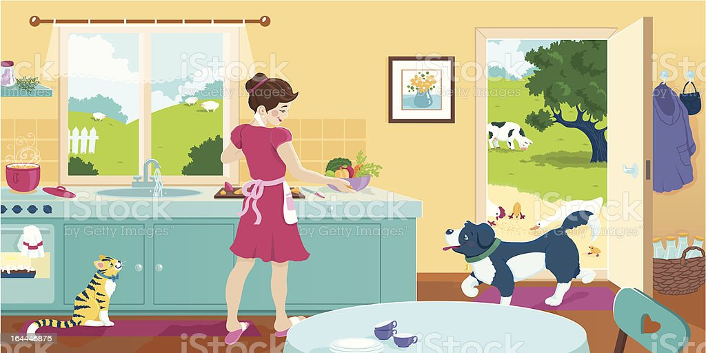 Cooking In The Kitchen Vector Illustration royalty-free stock vector art