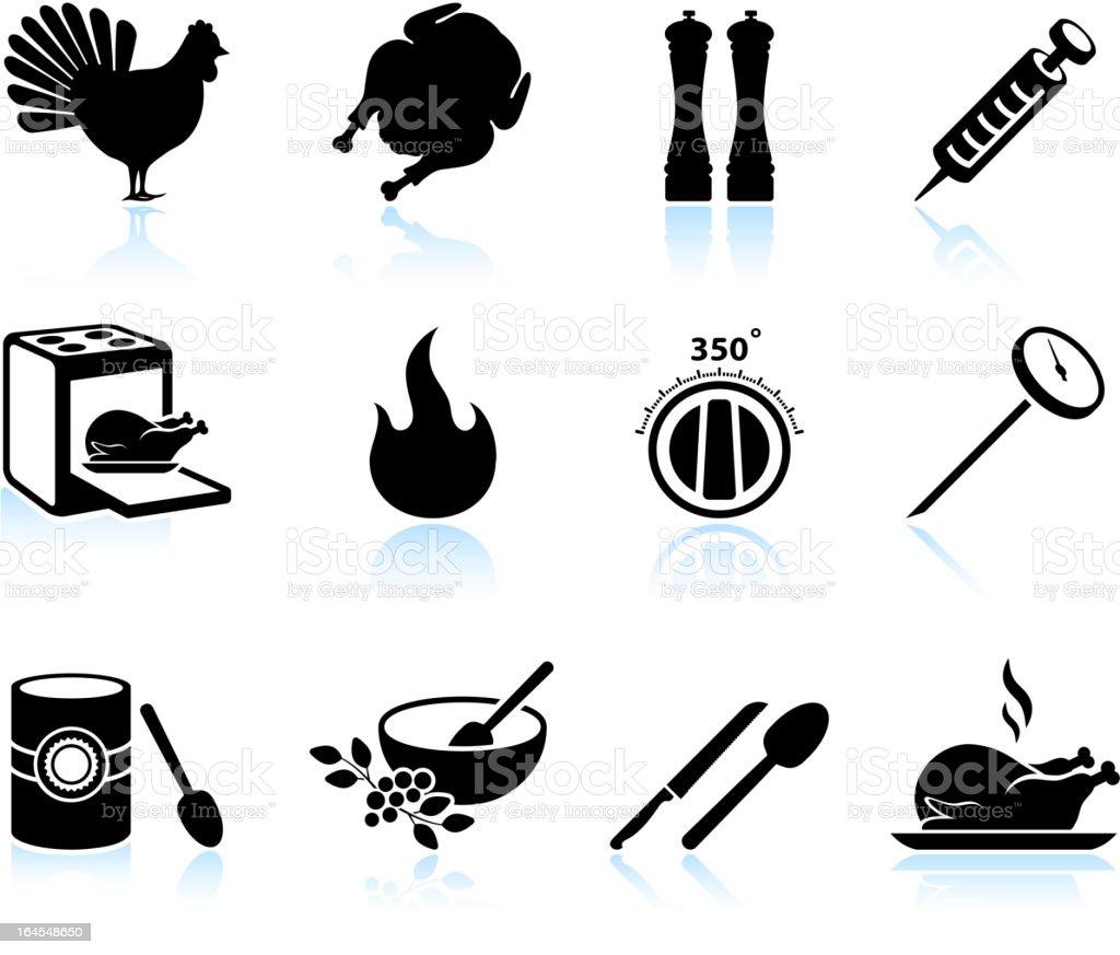 Cooking Thanksgiving holiday turkey black & white icon set vector art illustration