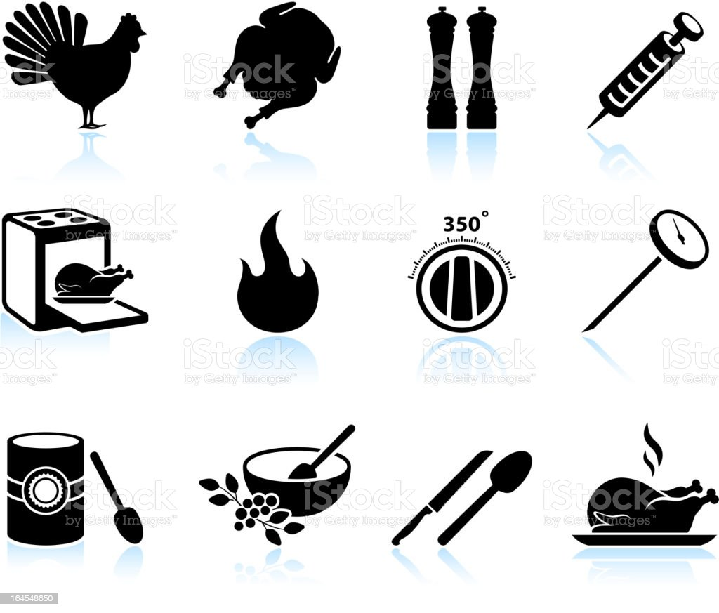 Cooking Thanksgiving holiday turkey black & white vector icon set vector art illustration