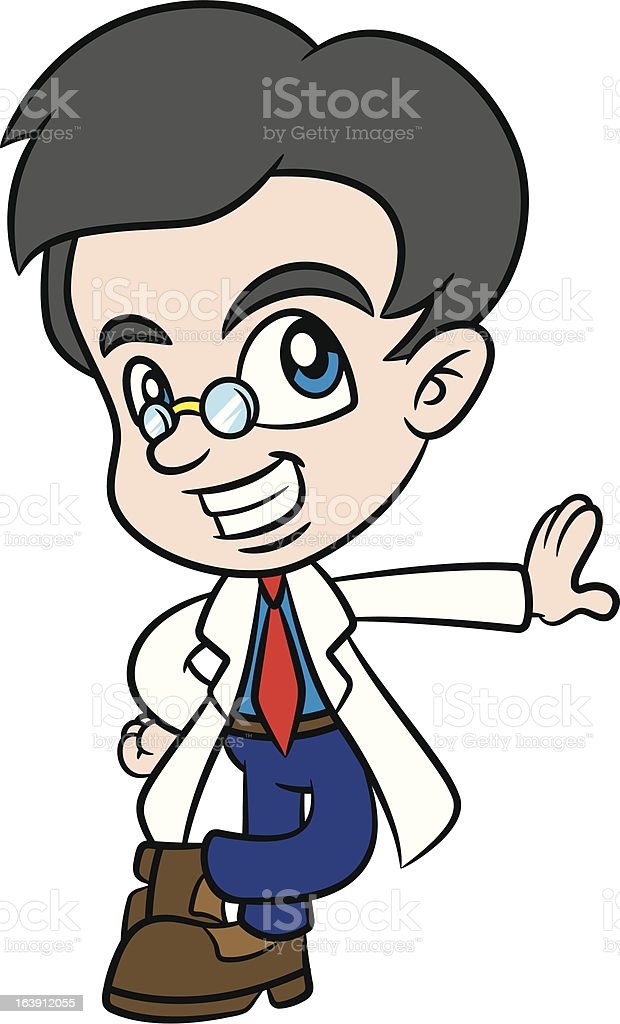 Cool Cartoon Scientist royalty-free stock vector art