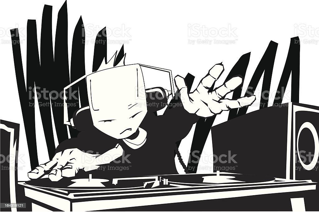 Cool DJ gets the crowd going royalty-free stock vector art