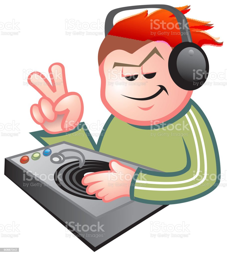Tonos dj tocando - ilustración de arte vectorial