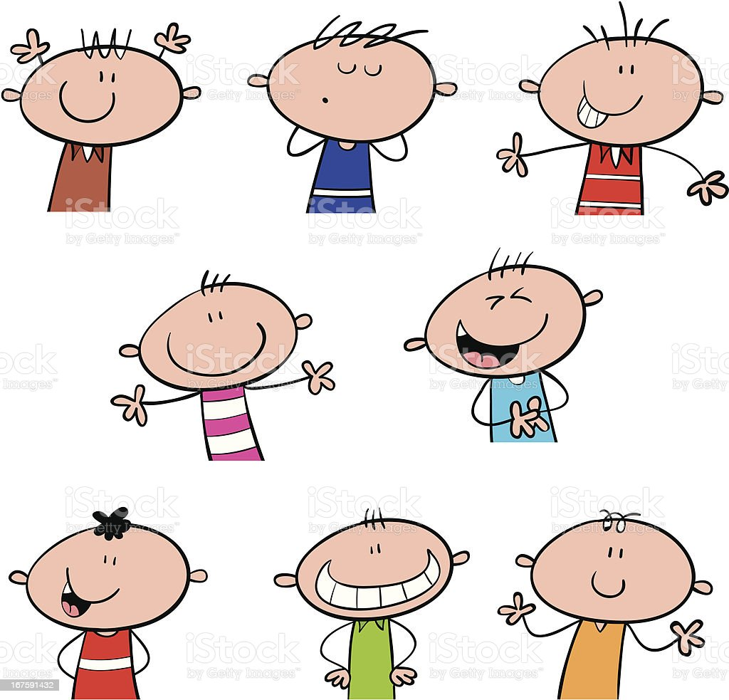 Cool Happy Kids royalty-free stock vector art
