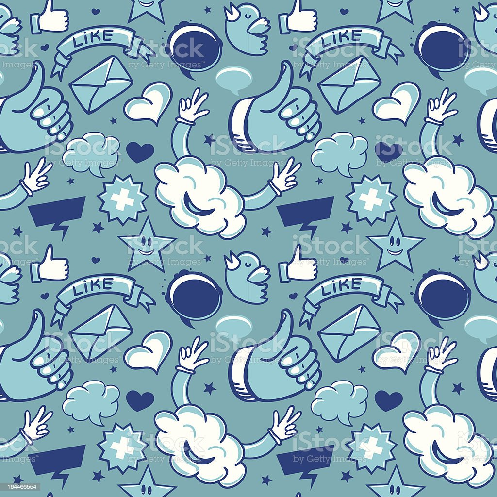 cool seamless pattern with social media icons royalty-free stock vector art