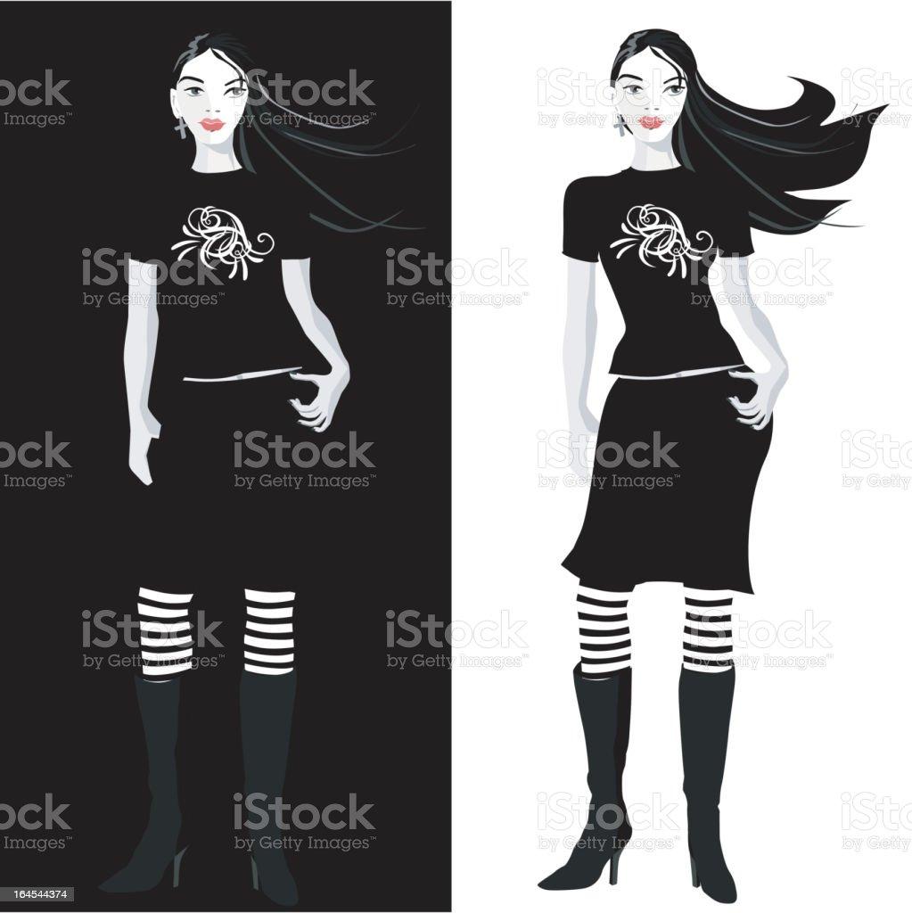 Cool Teenage Girl vector art illustration