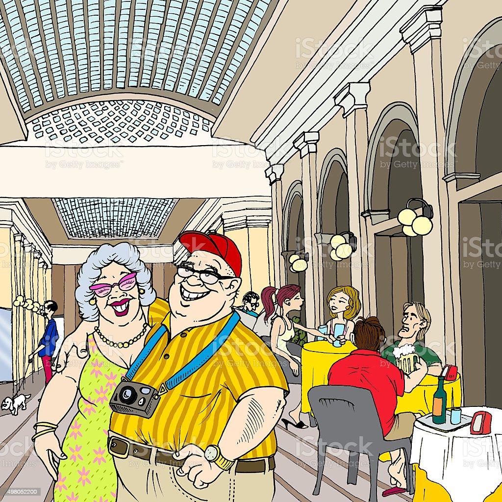 Coppie di turisti con persone al bar vector art illustration