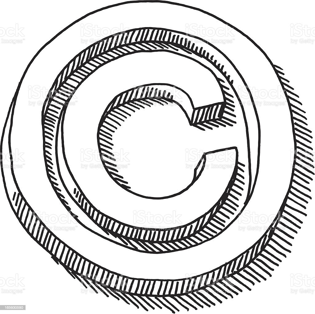 Copyright Symbol Drawing vector art illustration