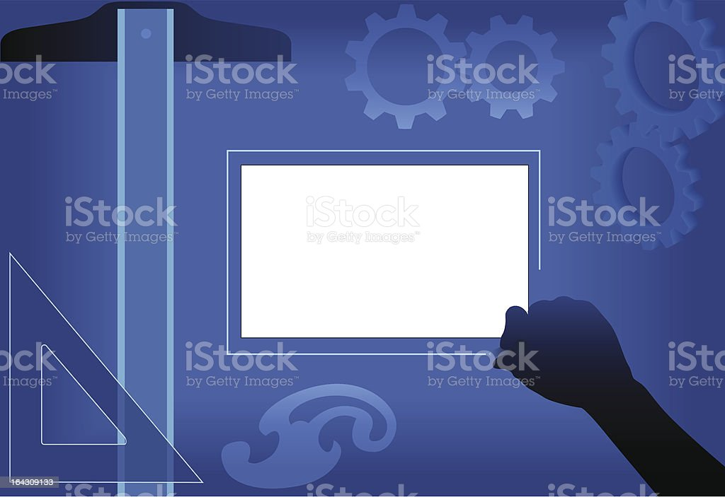 Copyspace for Planning Design Lightbox Drawing Board & Drafting Tools royalty-free stock vector art