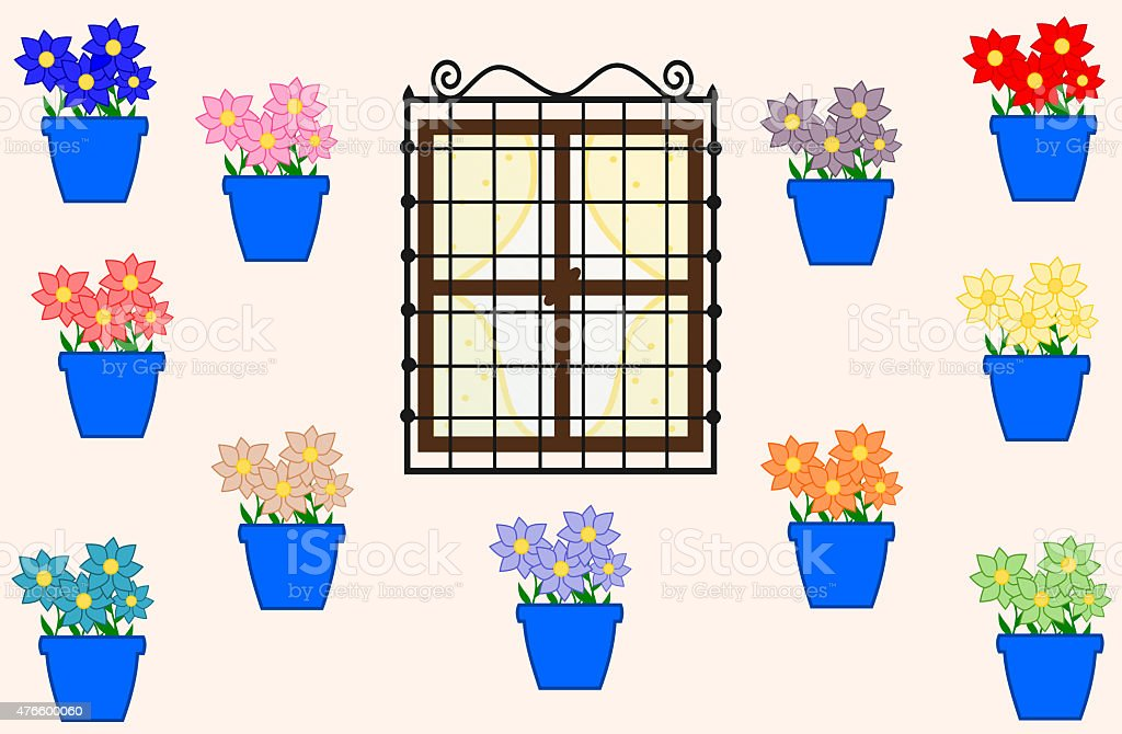 cordoba and the pots with colorful flowers cartoon illustration vector art illustration