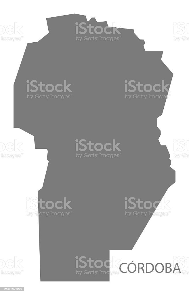 Cordoba Argentina Map grey vector art illustration