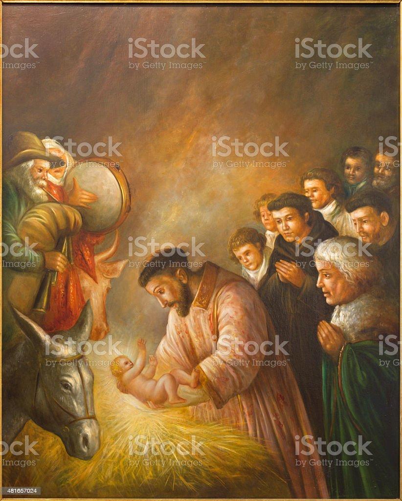 Cordoba - st. Francis of Assisi in Nativity scene vector art illustration