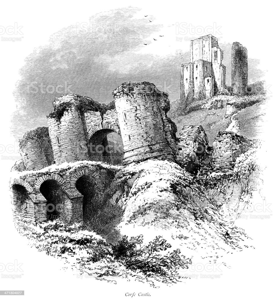 Corfe Castle, Dorset (Victorian engraving) royalty-free stock vector art