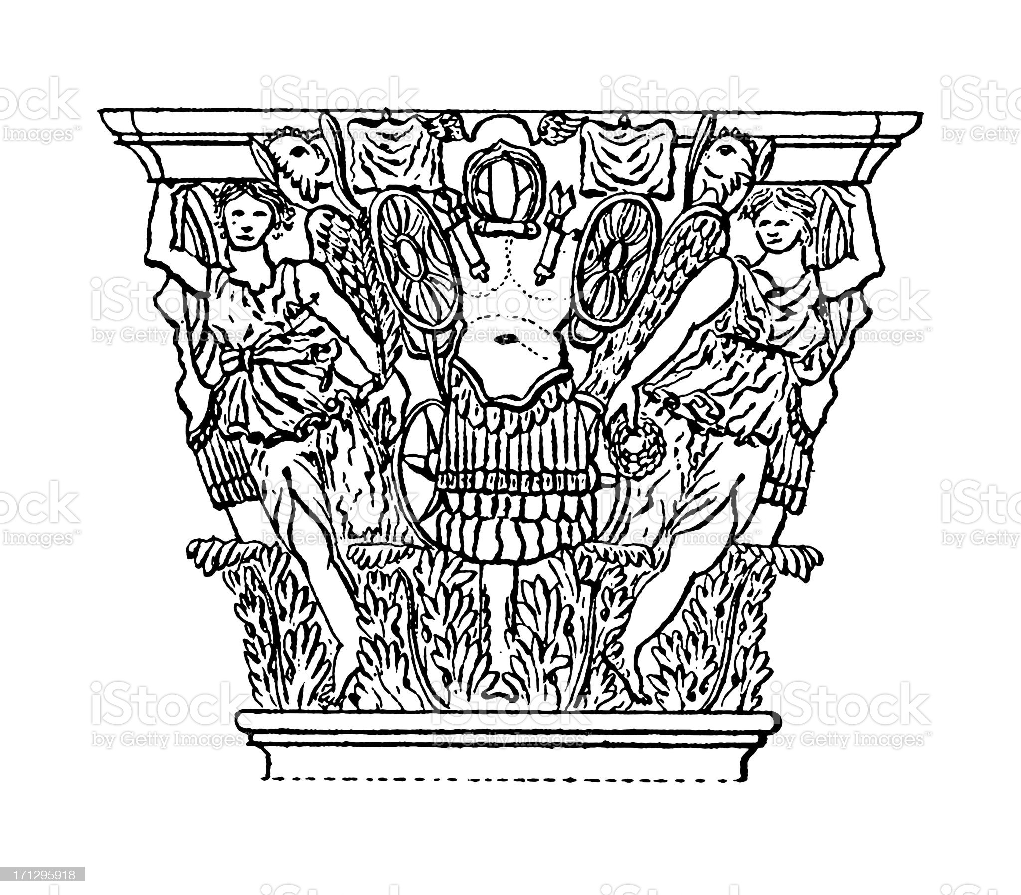 Corinthian Capital   Antique Architectural Illustrations royalty-free stock vector art