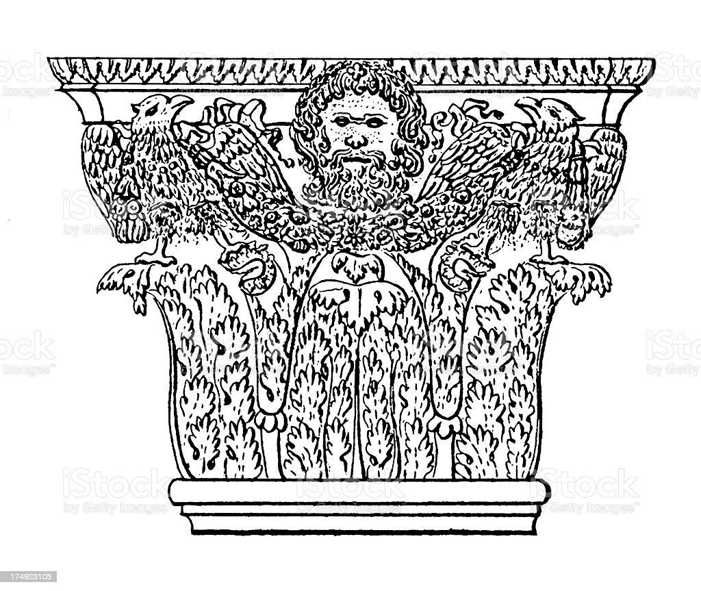 Corinthian Capital | Antique Architectural Illustrations royalty-free stock vector art