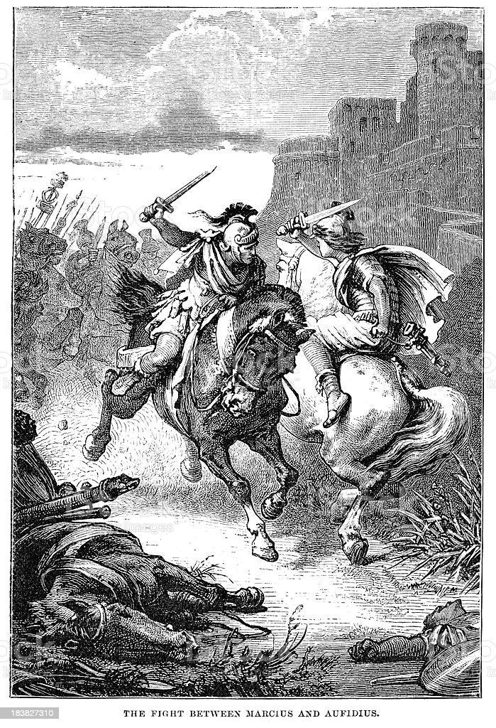 Coriolanus - Fight between Marcius and Aufidius royalty-free stock vector art