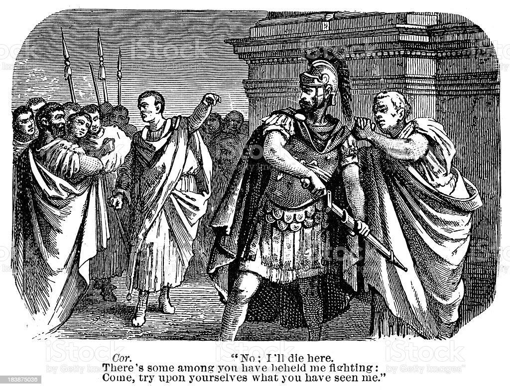 Coriolanus - I'll die here vector art illustration