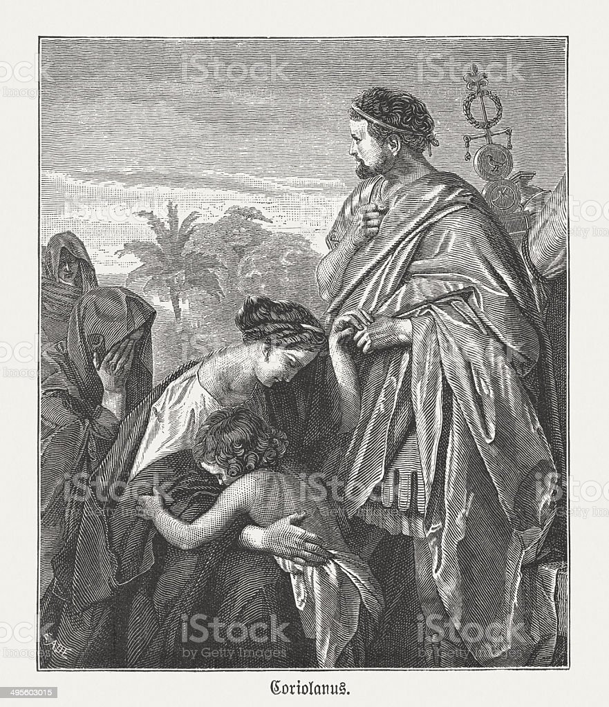 Coriolanus (Shakespeare) ,wood engraving, after Max Adamo, published 1881 vector art illustration