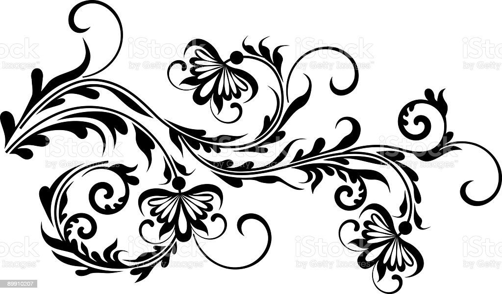 Corner floral pattern III royalty-free stock vector art