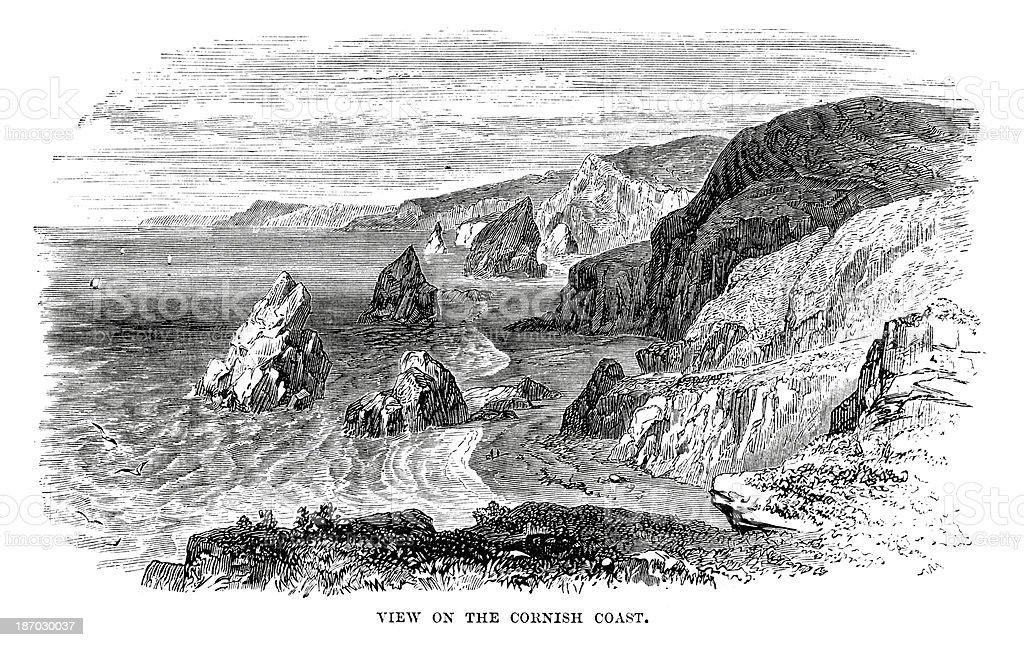 Cornish Coast vector art illustration