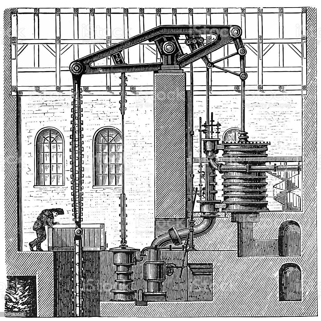 Cornish engine vector art illustration