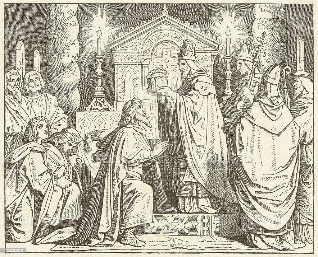 Coronation of Charlemagne (800) by Pope Leo III, published 1881 vector art illustration