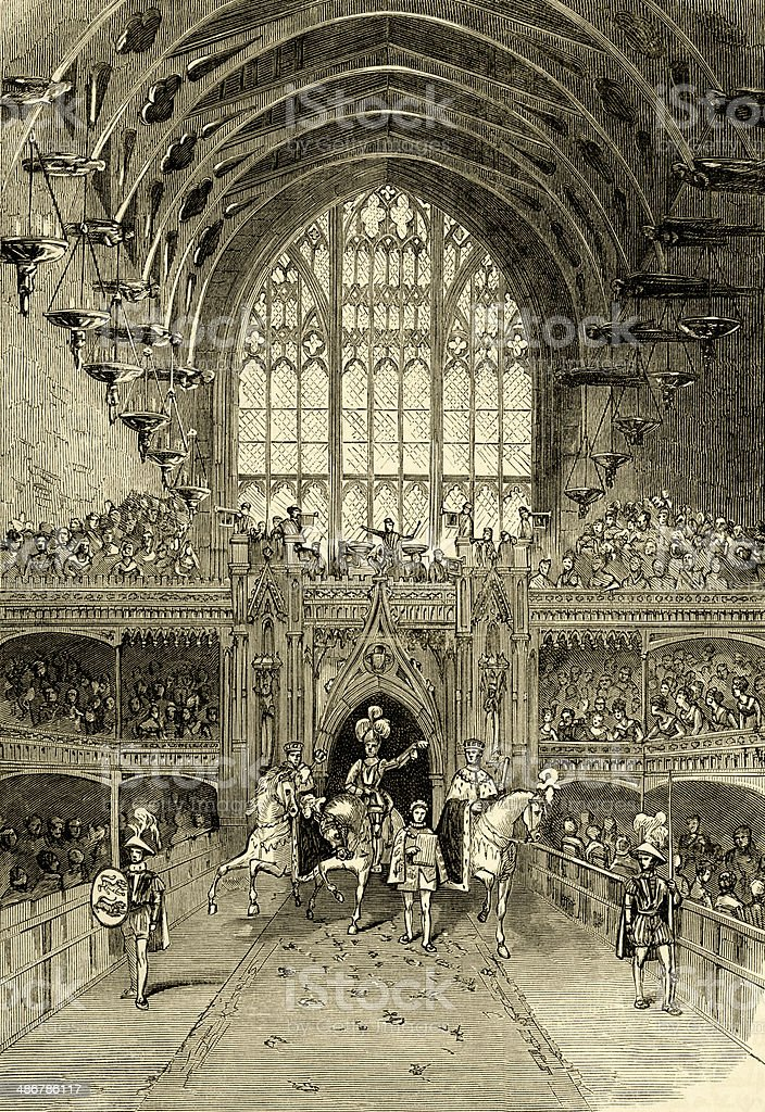 Coronation of George IV, Westminster Hall - the Champion's Challenge vector art illustration