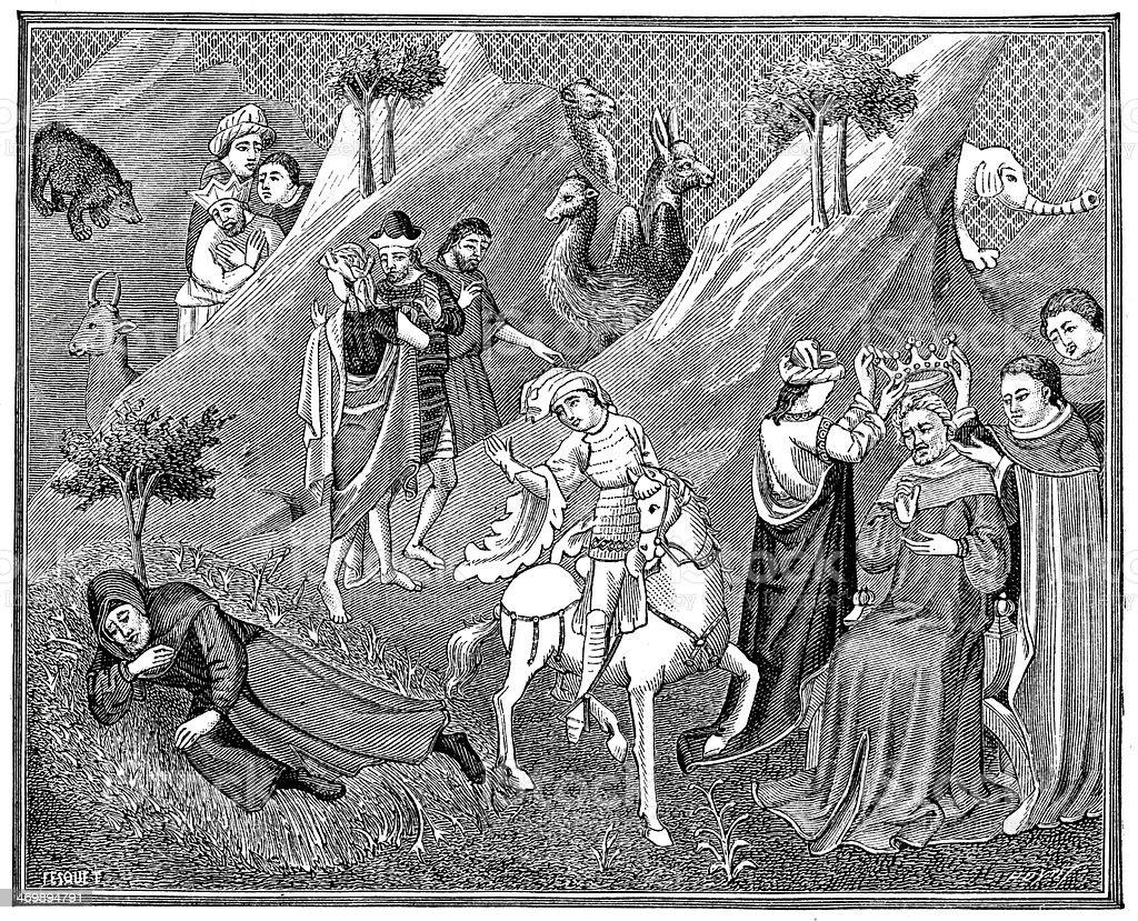 Coronation of the Great Khan vector art illustration