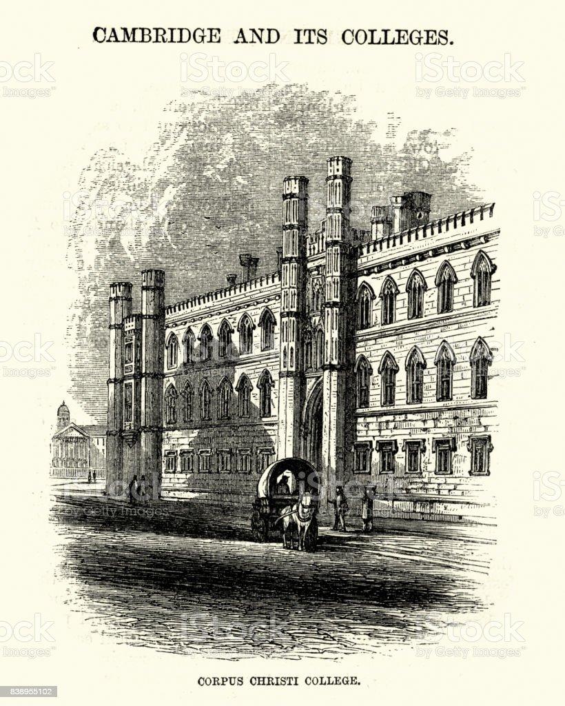 Corpus Christi College, University of Cambridge, 19th Century vector art illustration