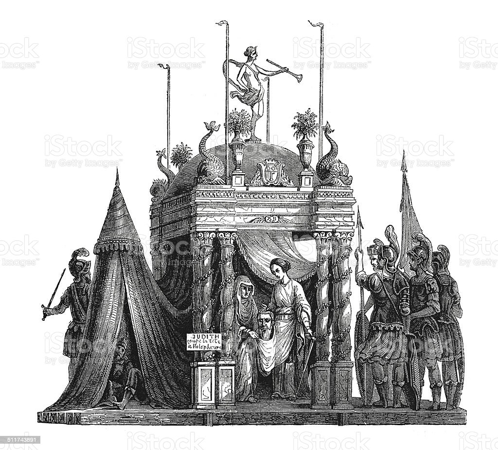 Corpus Christi procession in Angers, France (antique engraving) vector art illustration