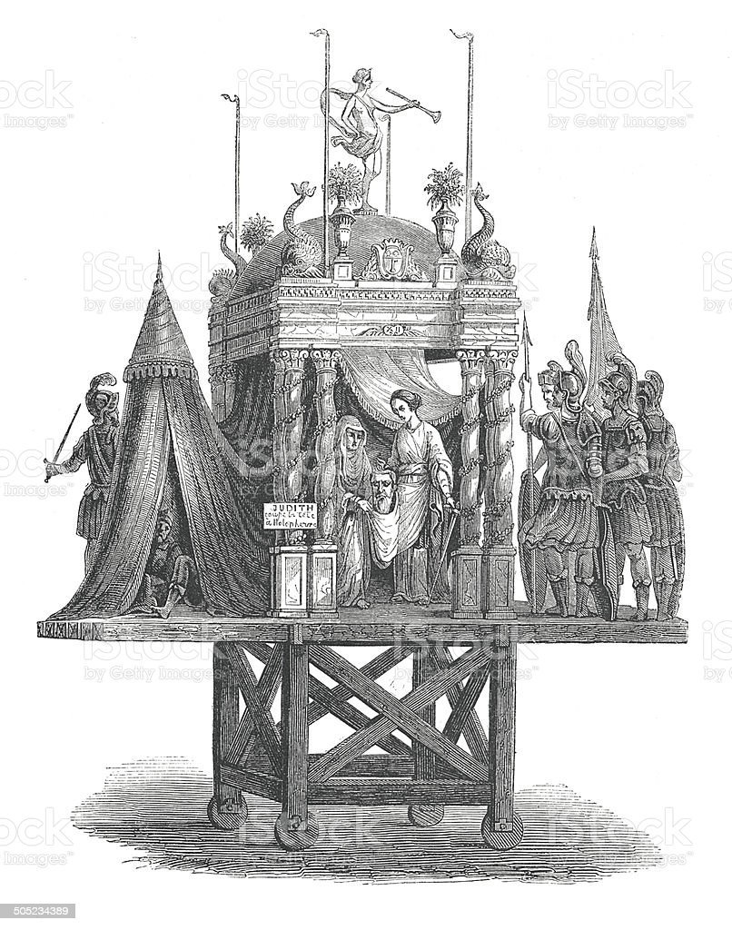 Corpus Christi procession in Angers (antique engraving) vector art illustration