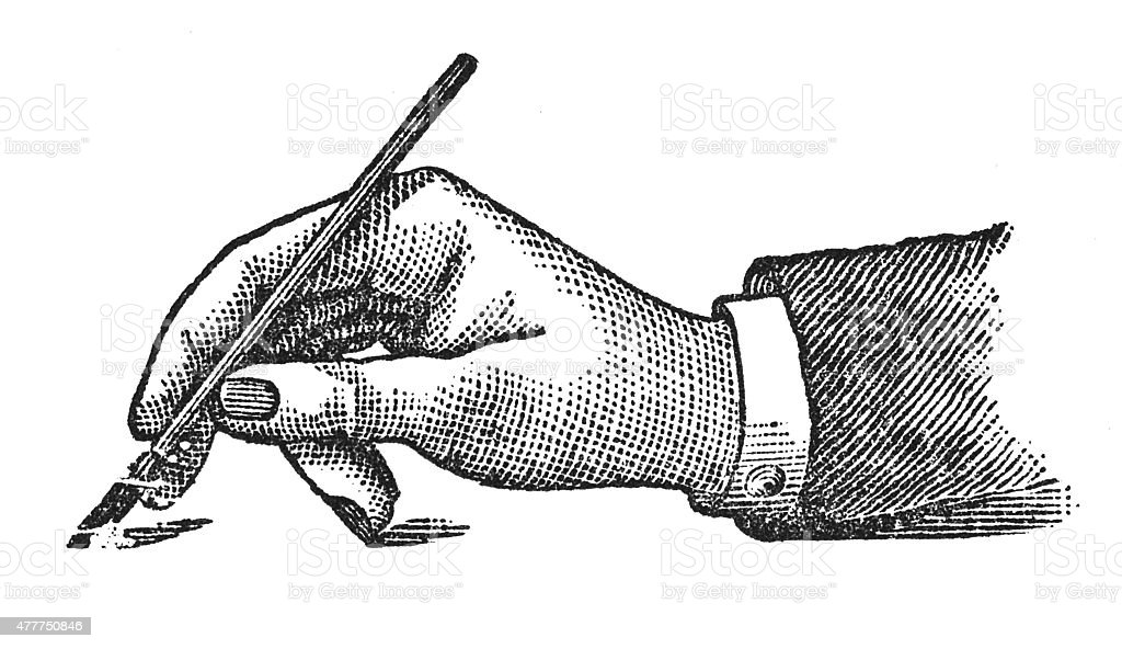 Correct position of the hand while writing (antique engraving) vector art illustration