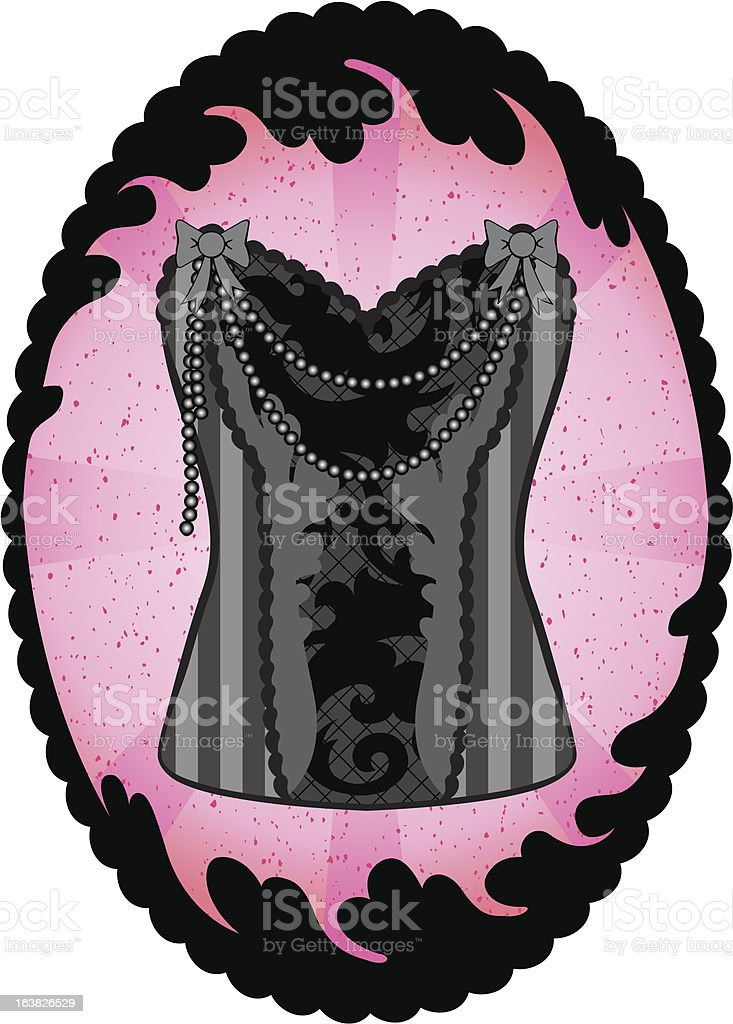 Corset In An Elegant Frame royalty-free stock vector art
