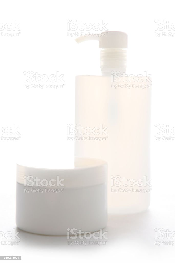 Cosmetic bottle and jar vector art illustration