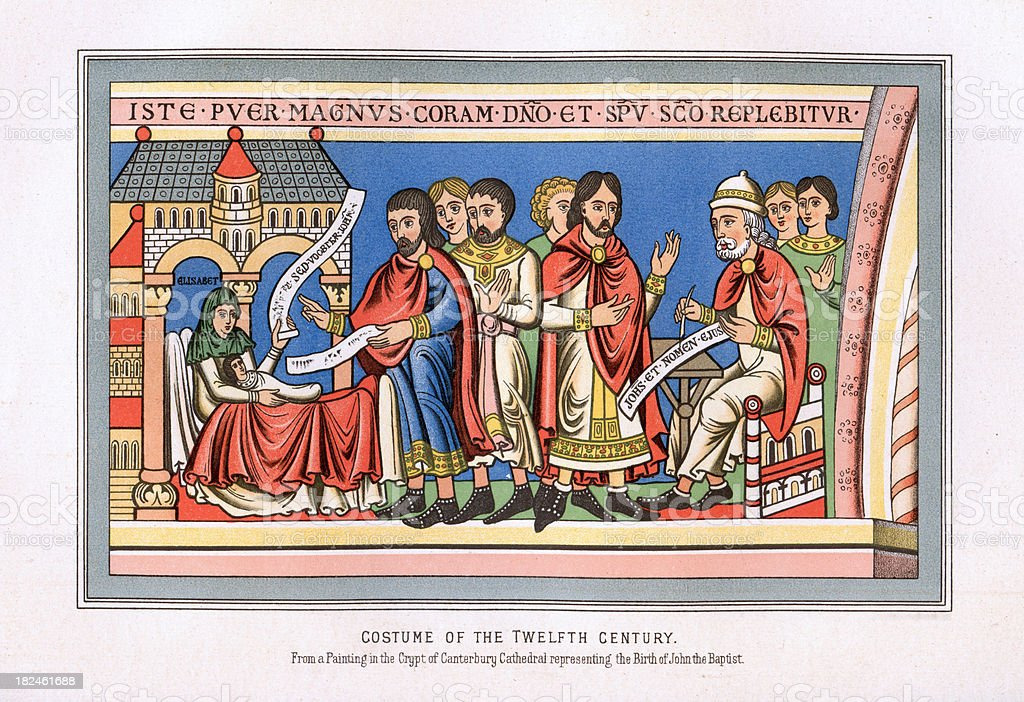 Costume of the Twelfth Century royalty-free stock vector art