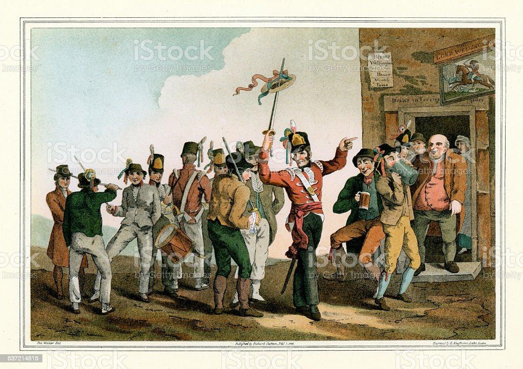 Costumes of Yorkshire - The 33rd Regiment vector art illustration